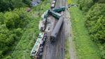 Столкновение поездов в Хмельницкой области: появились фото аварии с дрона
