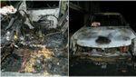 На парковке в Киеве вспыхнул пожар: авто выгорело полностью