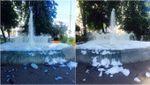 """Фотофакт: неизвестные превратили фонтан в Киеве в """"ванну"""" с пеной"""