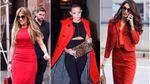 С чем носить красный: 20 модных образов звезд Голливуда этой осенью