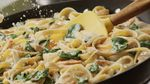Паста с соусом, грибами и беконом: пошаговый рецепт