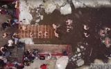 Купание на Крещение в Киеве сняли на видео с неба