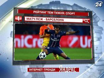 """Матч ПСЖ-""""Барселона"""" - самая популярная спортивная тема недели в """"Яндексе"""""""