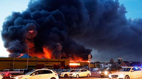 У мережі з явився знятий за допомогою квадрокоптера ролик пожежі у  торговому центрі