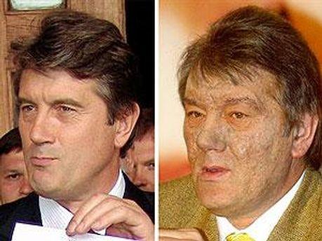 Віктор Ющенко до і після отруєння