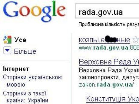 Скріншот результатів пошуку Google