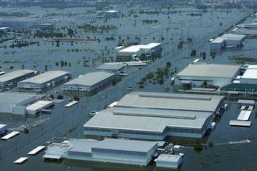 Вода, также, затопила несколько заводов страны