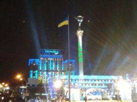 Надпись на Майдане Незалежности в новогоднюю ночь