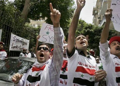 Протест возле посольства Сирии в Каире