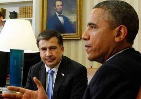 Михаил Саакашвили и Барак Обама на встрече в Белом доме