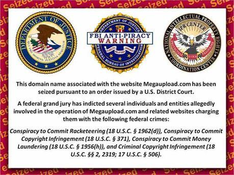 Зараз на сайті Megaupload з'являється антипіратське застереження