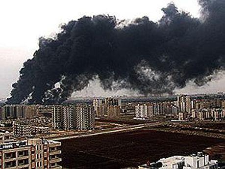 В результате взрыва начался пожар