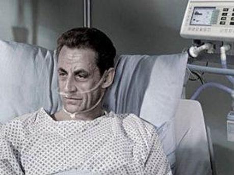 Ніколя Саркозі на рекламному плакаті Асоціації за право померти з гідністю