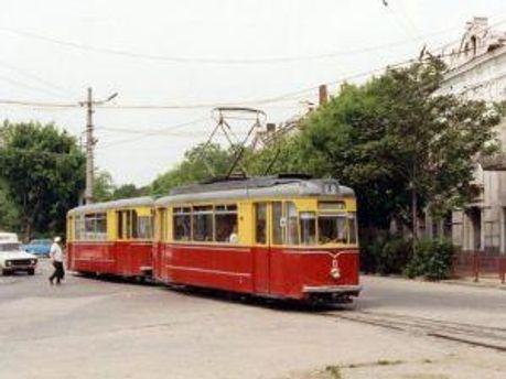 Вид советского трамвая