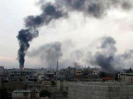 Обстрел города Хомс в Сирии