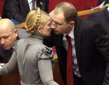 Юлия Тимошенко и Арсений Яценюк в парламенте