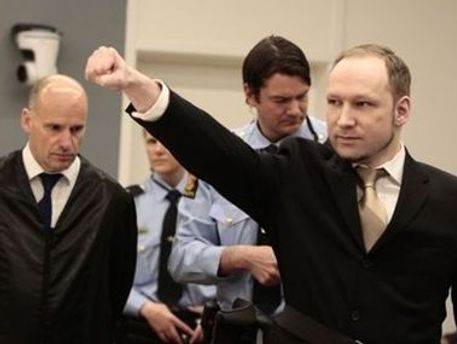 Андерс Брейвик на судебном заседании