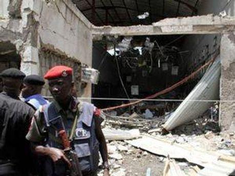 Место взрыва в Нигерии