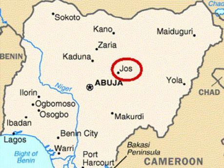 Город Джос на карте Нигерии