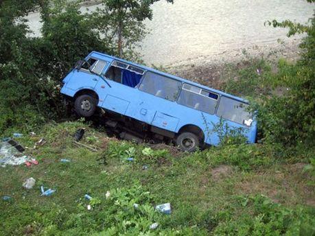 Автобус вылетел в кювет и перевернулся