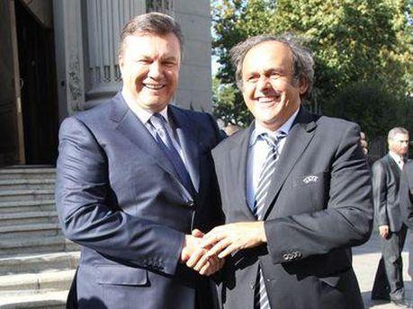 Виктор Янукович и Мишель Платини