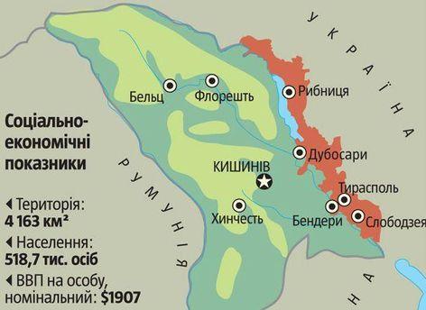 Червоний колір на карті - територія Придністров'я