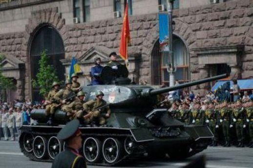 Танк во время военного парада