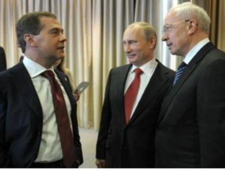 Микола Азаров, Дмитро Медведєв та Володимир Путін