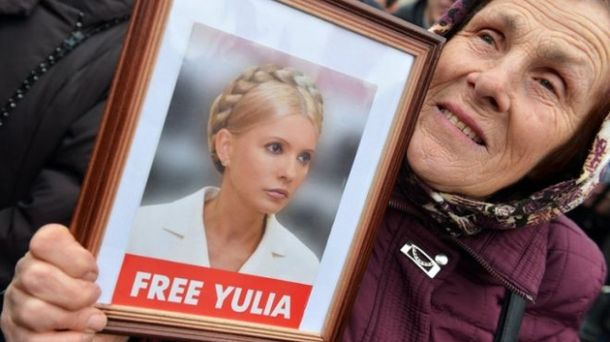 Портрет Тимошенко під час мітингу