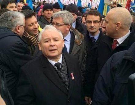 Ярослав Качиньский на митинге в Киеве