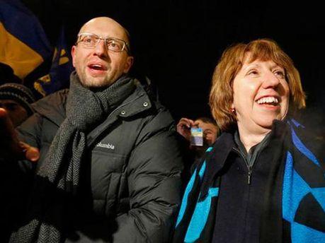 Яценюк и Эштон на Евромайдане