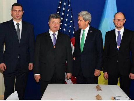 Виталий Кличко, Петр Порошенко, Джон Керри, Арсений Яценюк