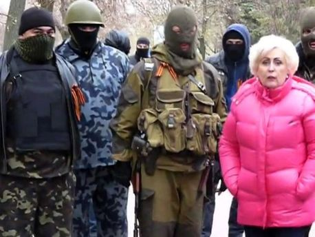Мэр Славянска Неля Штепа с диверсантами