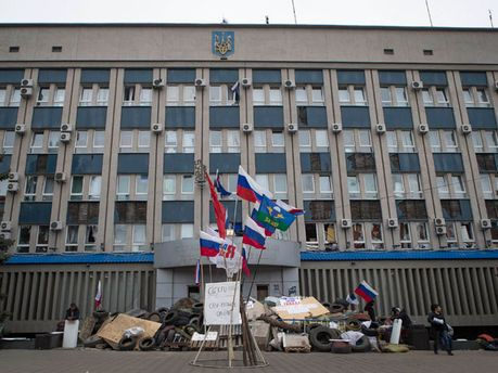Баррикады сепаратистов в Луганске