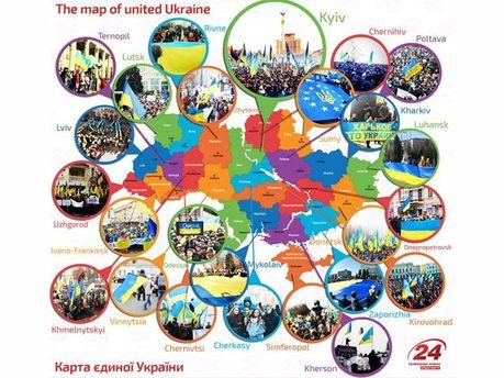 Карта Єдиної України (Інфографіка)