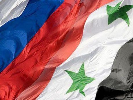 Прапори Росії та Сирії