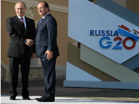 Володимир Путін і  Франсуа Олланд