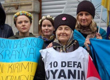 Протест крымских татар в Стамбуле 8 марта 2014 г.