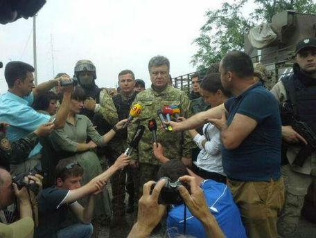 Петр Порошенко в зоне АТО