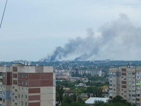 Дым в Луганске