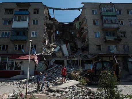 Разрушения в Луганске