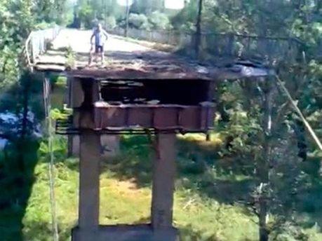 Взорванный мост в Лисичанске