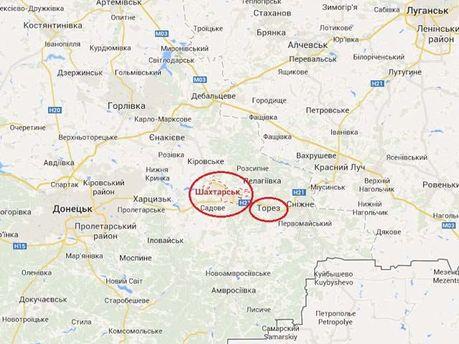 Шахтарськ на карті України