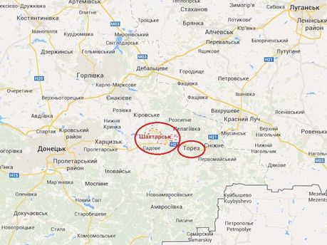 Шахтерск на карте Украины