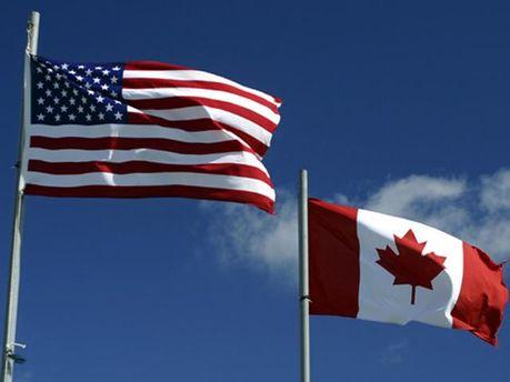 Флаги США и Канады