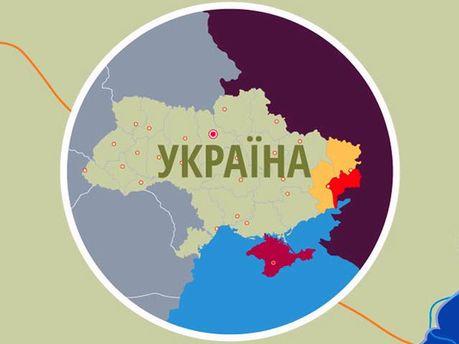 Конфликт на Донбассе на карте Украины