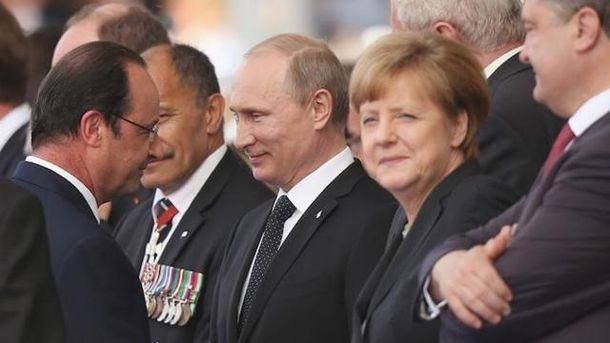 Путин, Меркель, Олланд и Порошенко