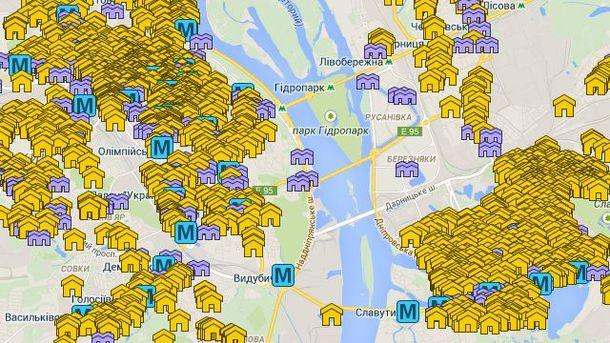 Карта сховищ Києва