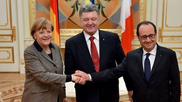 А.Меркель, П.Порошенко и Ф. Олланд