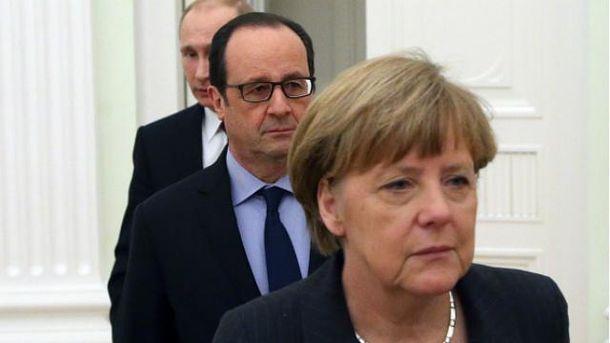 Ангела Меркель, Франсуа Олланд, Владимир Путин